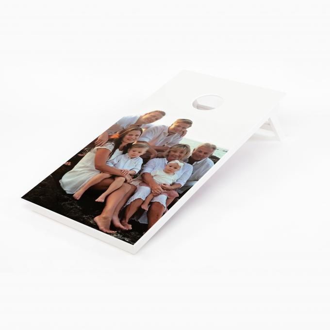 Cornhole bräda med familjefoto som tryck